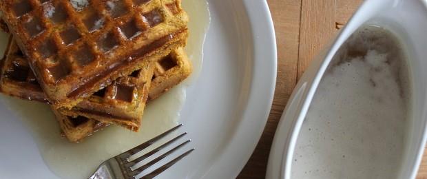 Pumpkin Waffles with Buttermilk Syrup
